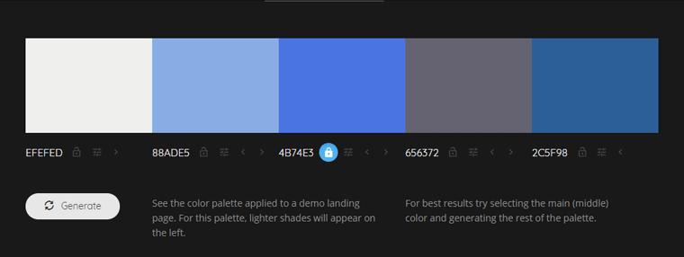 Colormind 新たなカラーが生成された