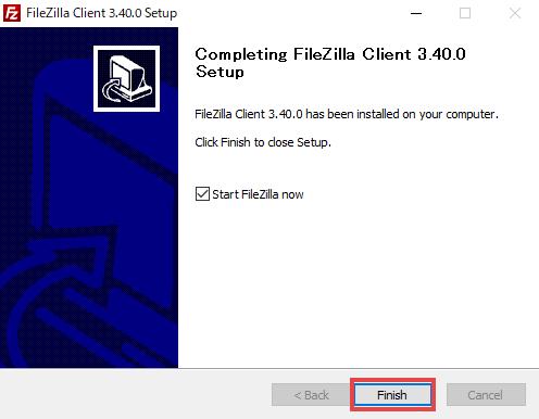 FileZillaインストール完了
