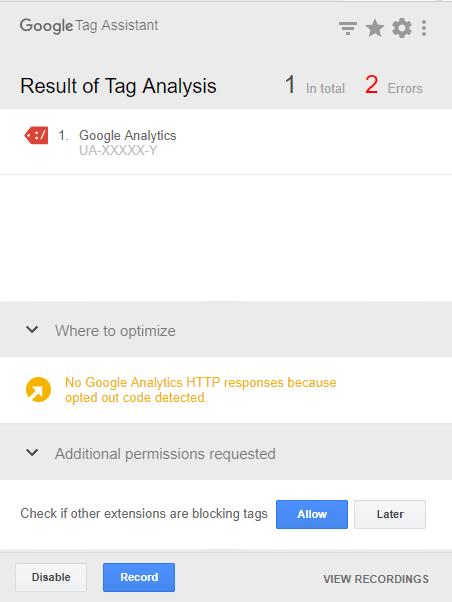 Googleタグアシスタントのエラー表示