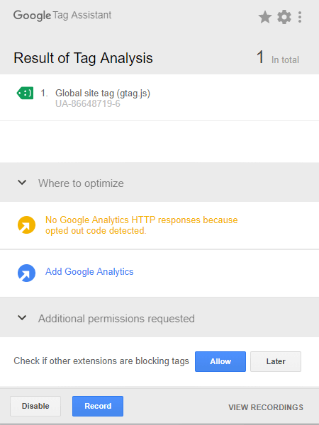 Googleタグアシスタントの正常なタグ表示